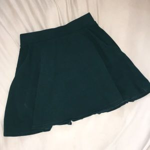 Emerald Green Skater Skirt w/ Pockets